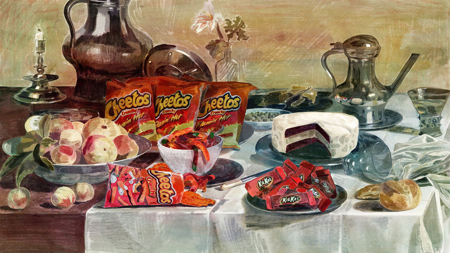 Cover Photo: still life painting of a memorial buffet featuring Cheetos, gummy worms, and red velvet cheesecake