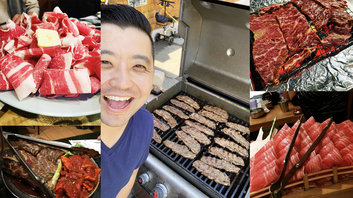 Cover Photo: collage of photographs of different types of Korean BBQ, cooked and uncooked; in the center, a photo of the author standing over his grill