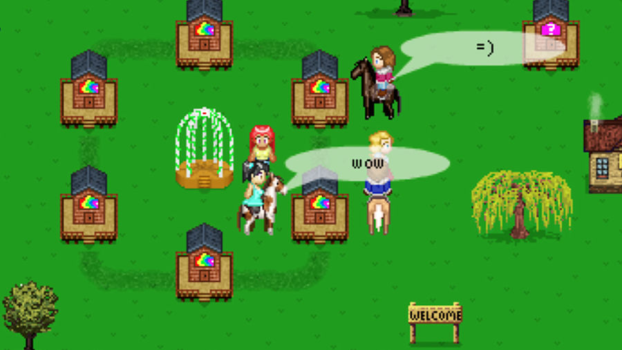 Cover Photo: An image from the game Horse Isle with mini horses and players interacting in the game