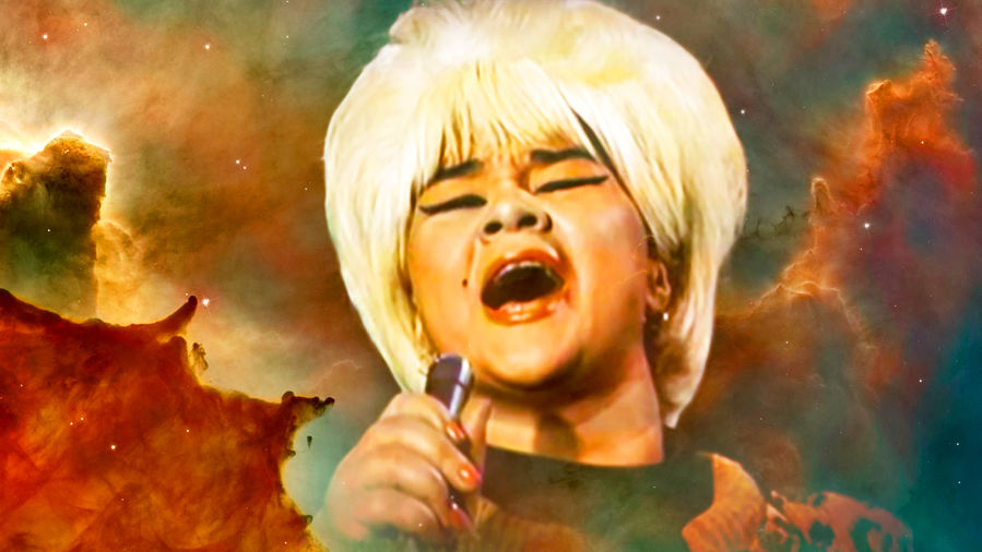 Cover Photo: an image of singer Etta James against a starry background