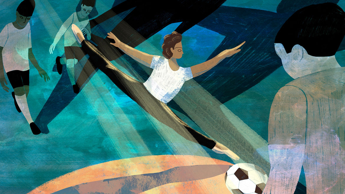 Cover Photo: A colorful illustration in blues, oranges, black, white, and brown of a young boy kicking a soccer ball while mid-leap in ballet shoes, as other little boys in soccer uniforms look on forebodingly.