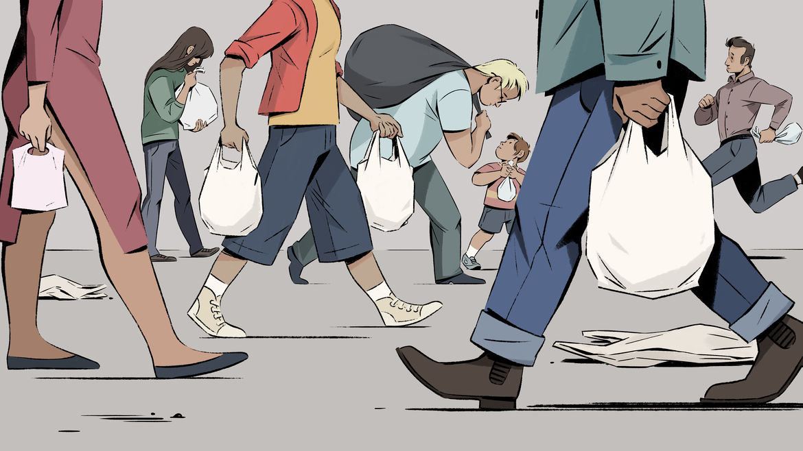 Cover Photo: This illustration shows many people walking down the street, all in different colored clothes, all carrying plastic bags. Some of them are busy, some of them are walking slowly, enjoying the walk.