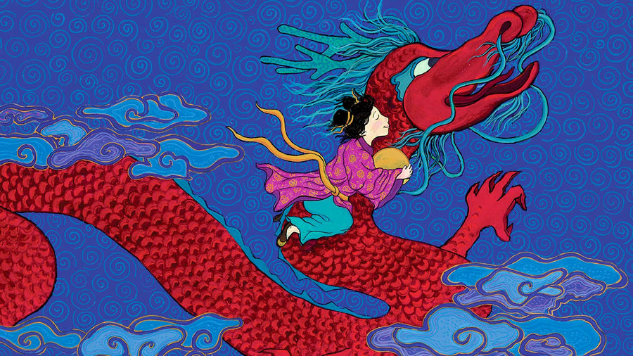 Cover Photo: An illustration of a young girl riding a dragon through the sky