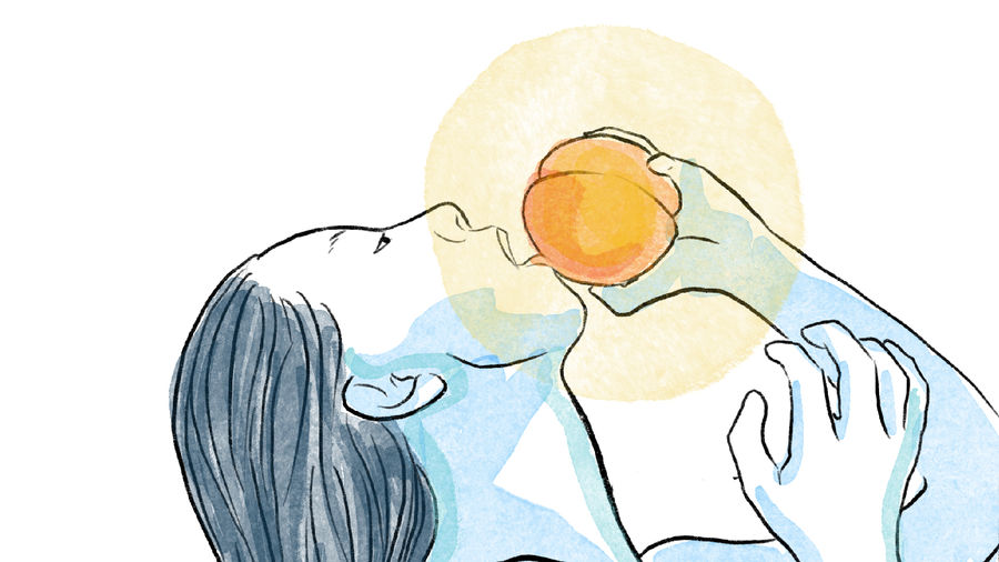 Cover Photo: illustration of a person with long black hair leaning backward, grasping a peach they are about to bite into