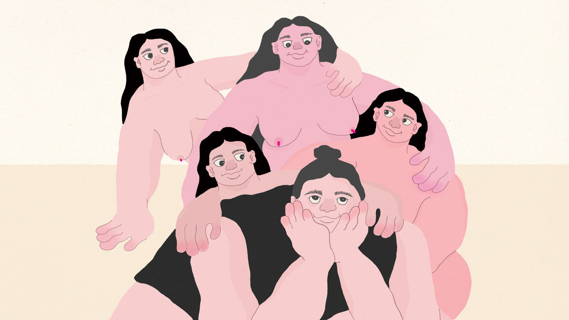 Cover Photo: An illustration by Natasha Jiwa of one woman with her hair in a bun who seems to be daydreaming, surrounded by nude women who look at her encouragingly.