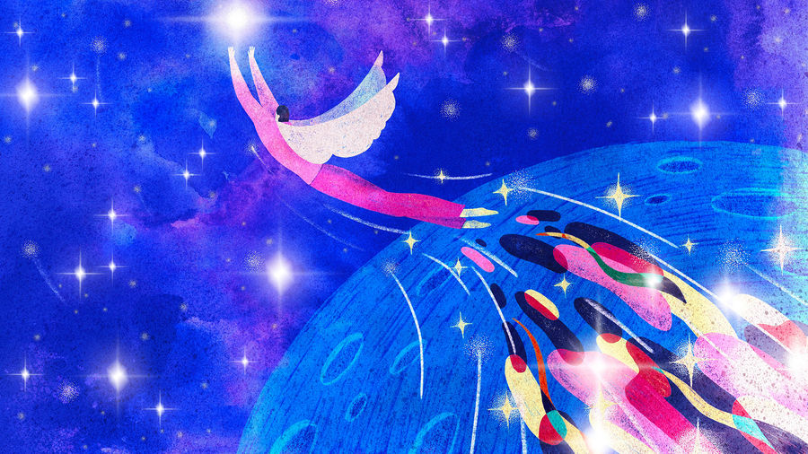 Cover Photo: A celestial human-shaped figure with wings flying into space with a tail of colors flying behind them