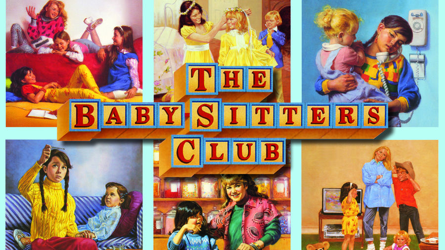 Cover Photo: A collage of six different The Baby-Sitters Club covers from the '90s. Several depict them hanging out in Claudia's room, while others feature each babysitter at their job.