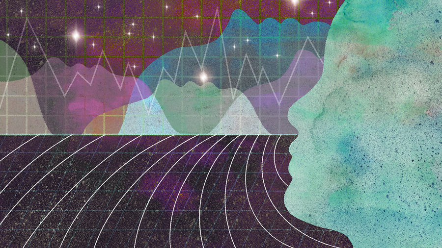 Cover Photo: illustration depicting a large face in the foreground, looking out at a mountain range of line graphs and other faces arrayed against a starry field