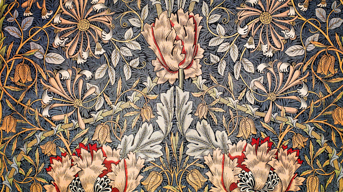 Cover Photo: A textile print of flowers and leaves