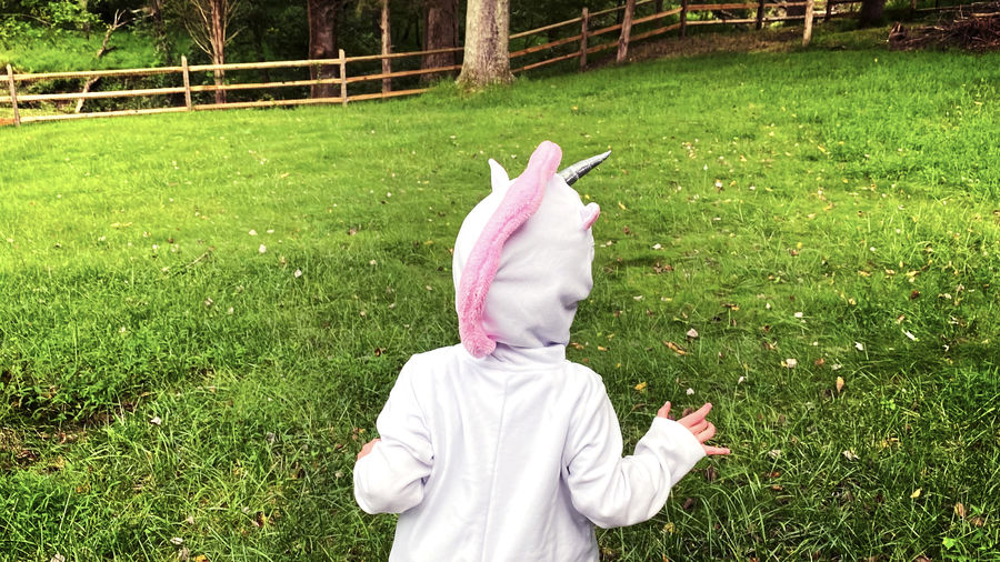 Cover Photo: A photograph of the author's son, face obscured, wearing a unicorn hoodie and running around in a lush wooded backyard