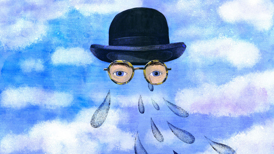 Cover Photo: A bowler hat and a pair of tortoise-shell glasses floating against a clear and perfect sky; behind the glasses are a pair of eyes and eyes only, crying tears into the ether