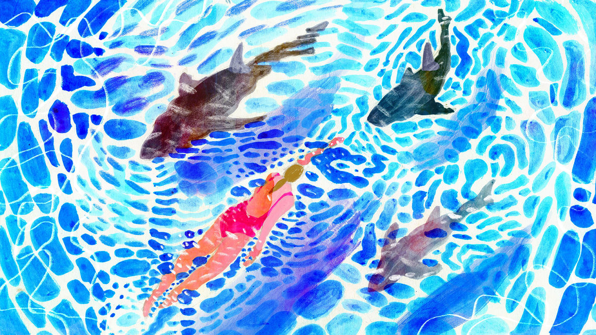 Cover Photo: Illustration of a woman in a magenta swimsuit swimming past sharks in blue water