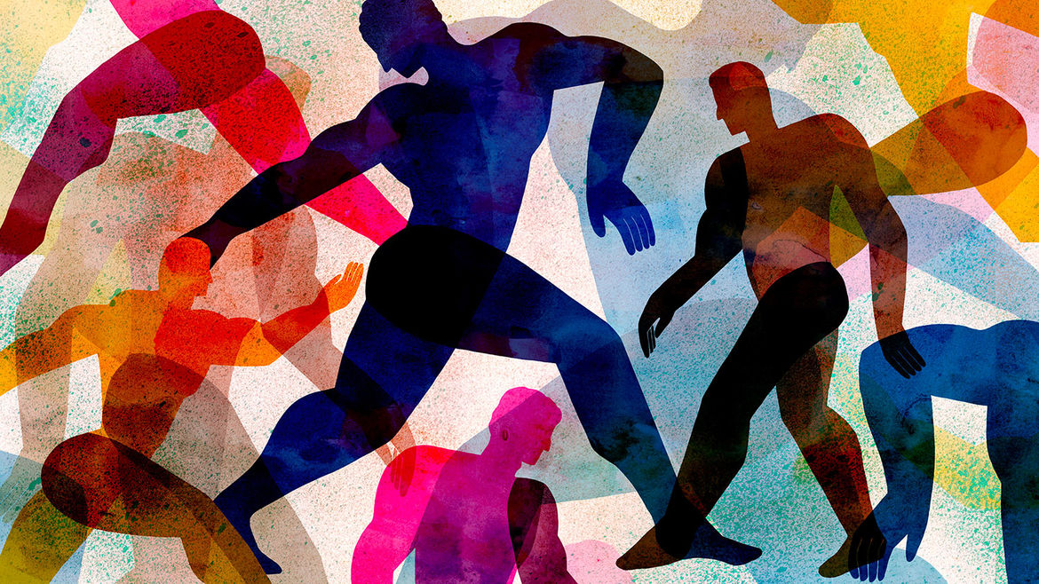 Cover Photo: An illustration by Sirin Thada of men, each a bright color, in different forms of movement, overlapping and reaching out toward each other.