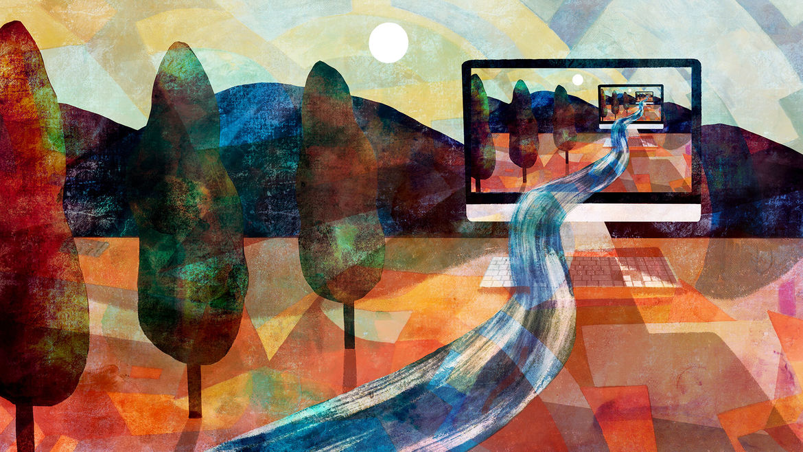 Cover Photo: illustration of a multi-hued, rather surreal-looking landscape, with a row of three trees and mountains beyond, and a computer screen in the distance with a river running out of it—the scene is repeated infinitely in the computer screen