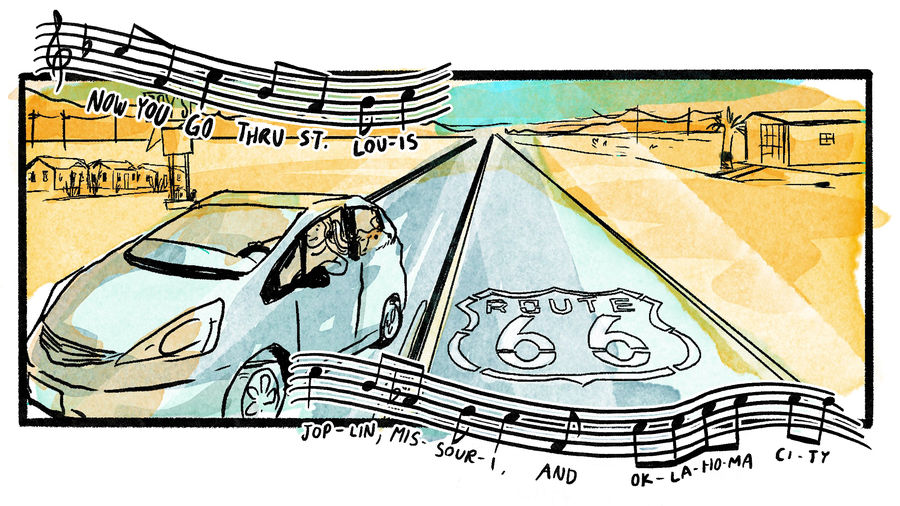 Cover Photo: illustration of a person with a ponytail + their dog riding in a small blue Honda Fit along historic Route 66, with song lyrics set above and below the frame