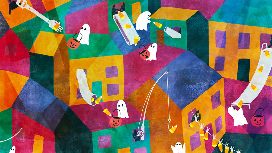 Cover Photo: abstract, brightly colored neighborhood scene: small trick-or-treaters in ghost costumes, holding jack-o-lantern buckets, receive candy from their neighbors via conveyor belt, long robot arm, candy cannon, slide, fishing pole, clothesline, and candy chute