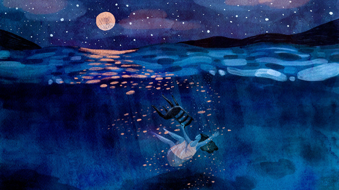 Cover Photo: illustration of a black-haired woman in a peach-pink dress dragging a chair to the bottom of the sea; above, rolling black hills in the distance are set against a starry sky, with a full moon reflecting on the water's surface
