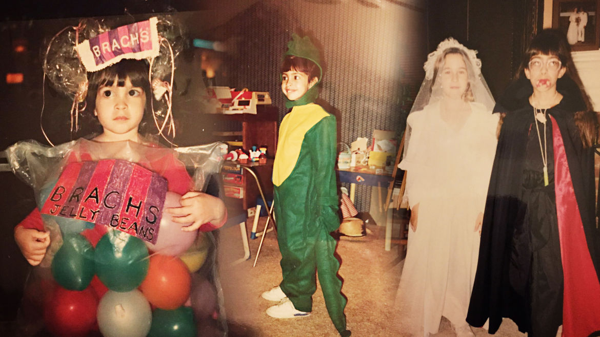 Cover Photo: A collage of a little girl in Halloween costumes—a bag of Brach's jelly beans, a green dinosaur, and a vampire with a bloody mouth, next to a friend dressed as a ghostly bride.