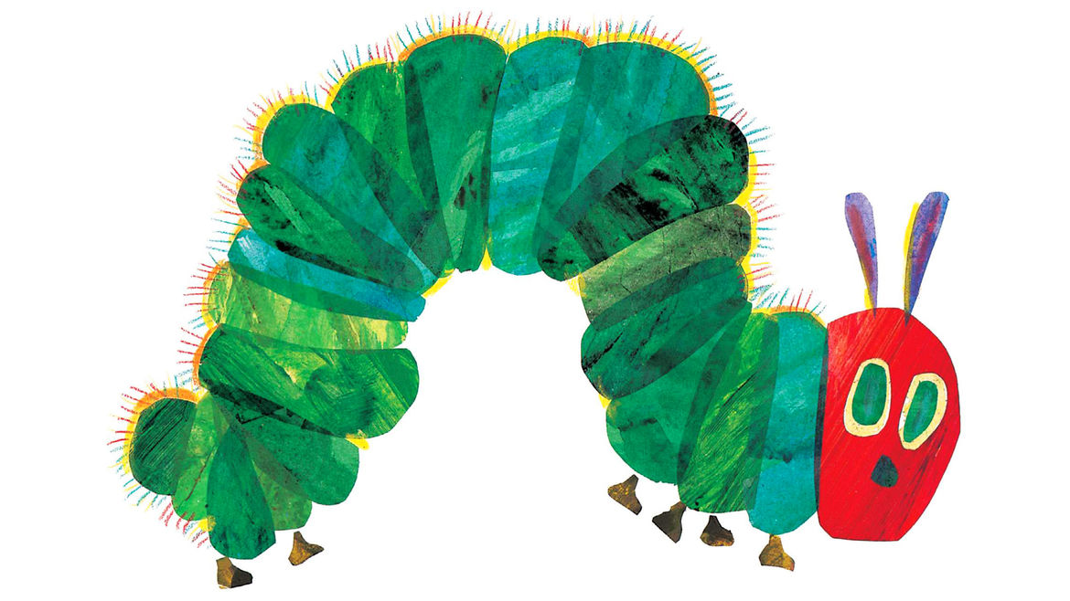 Cover Photo: The cover art for 'The Very Hungry Caterpillar' by Eric Carle, which depicts a cute and hairy caterpillar
