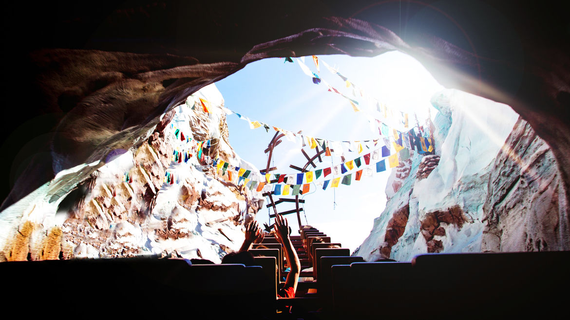 Cover Photo: A photo from the perspective of a rollercoaster rider, just as the rollercoaster exits a mountain and scales up a peak in the tracks, where it will plunge downward. A rainbow of pennants float above, strung from the mountain's opening.