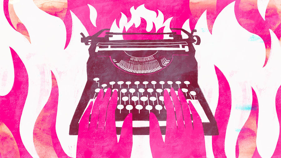 Cover Photo: An image of a type writer and hands typing as hot pink flames are ablaze in the background