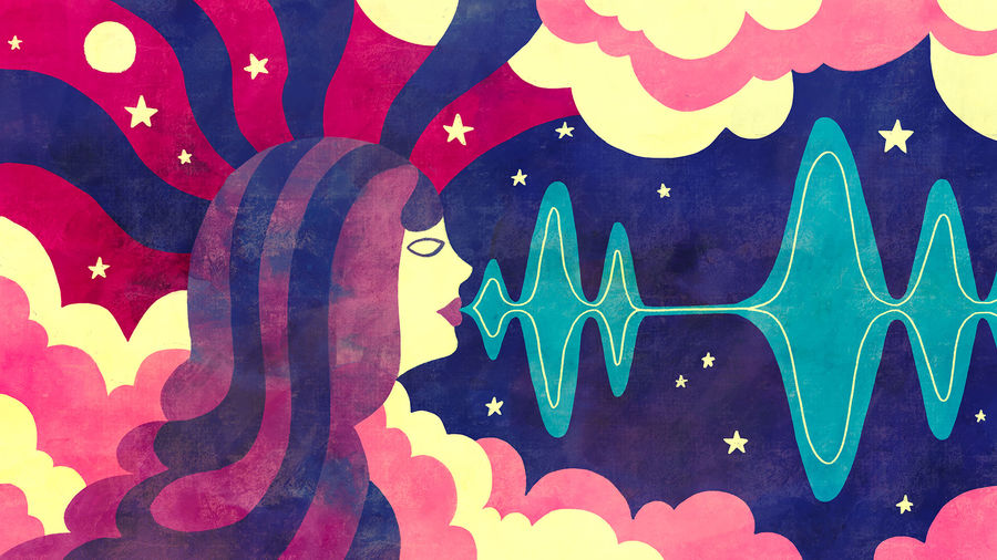 Cover Photo: An illustration of a human head speaking against a backdrop of clouds and stars