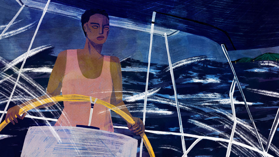 Cover Photo: An image of a black woman at the helm of a boat with rocky waves in the background