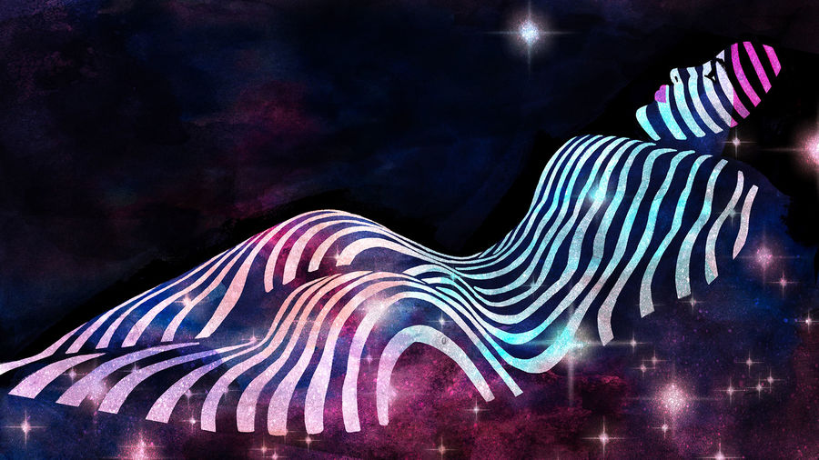Cover Photo: A starry illustration of a woman looking up into the cosmos, nude, stripes from window blinds stretched across her body and into the universe.