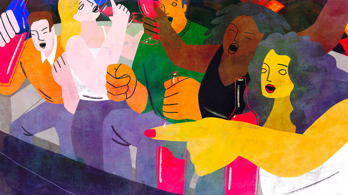 Cover Photo: A colorful and fun illustration of 5 friends drinking wine and reacting rowdily to what they're watching on TV.