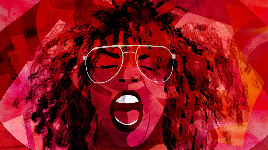 Cover Photo: An illustration of the musical artist Kelis yelling with hands in her hair