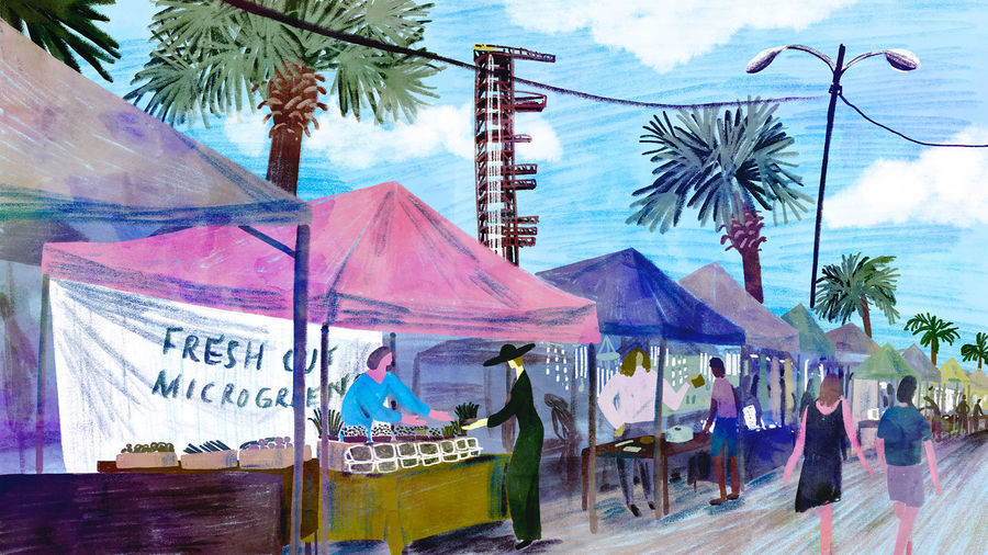Cover Photo: illustration of a farmers market, with brightly colored tents in a line stretching into the distance; in the nearest tent, under a pink canvas, a woman in a blue shirt is selling microgreens to another woman in a black sunhat and long dress