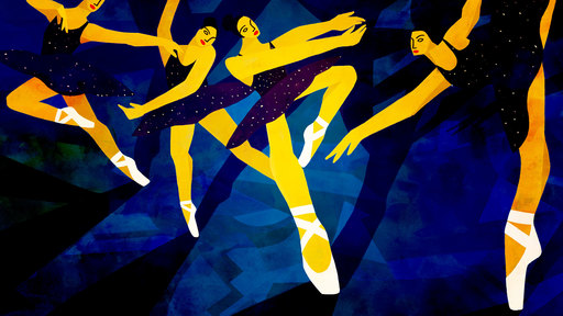 Cover Photo: An illustration in dark blues, black, and yellow. A ballerina is shown onstage, progressing through a spin. The glitter on her black leotard looks like stars against the background.