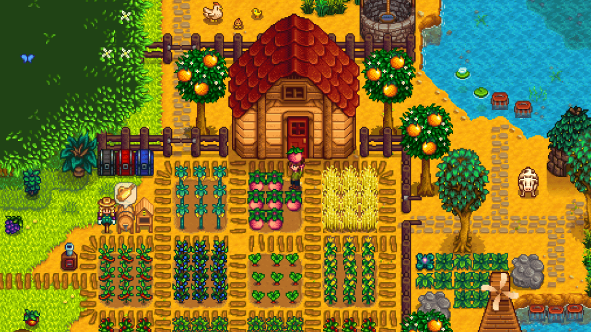 Cover Photo: An image of the farm simulator video game Stardew Valley; a farmer is picking melons from their farm, surrounded by trees, animals, and produce