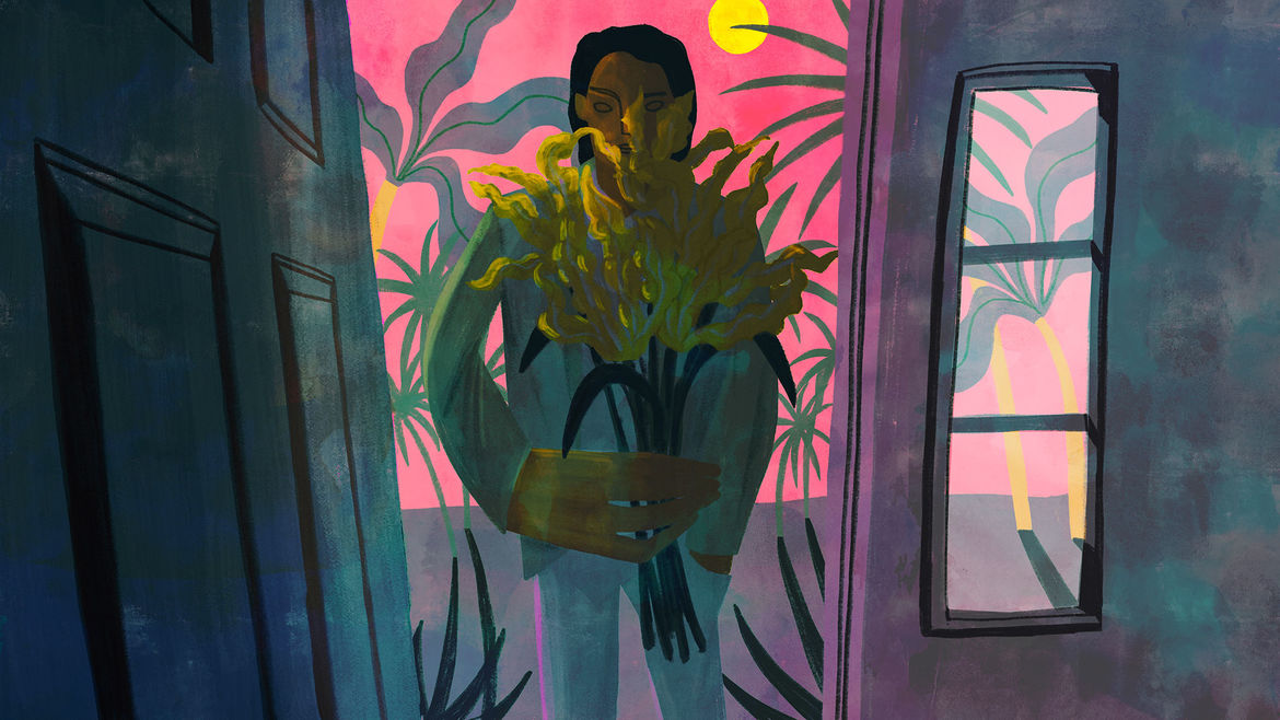 Cover Photo: An image of a being at the door holding flowers against a pink background with palm trees in the back—a shadow is cast on the being's face