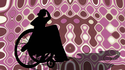 Cover Photo: In this illustration, we see an outline of a woman sitting in a wheel chair. Her hand is lifted to her forehead, as if she is looking far off in the distance. Her shadow stretches beneath her. The background is an organic-looking pattern in browns, pinks, whites, and off-whites.