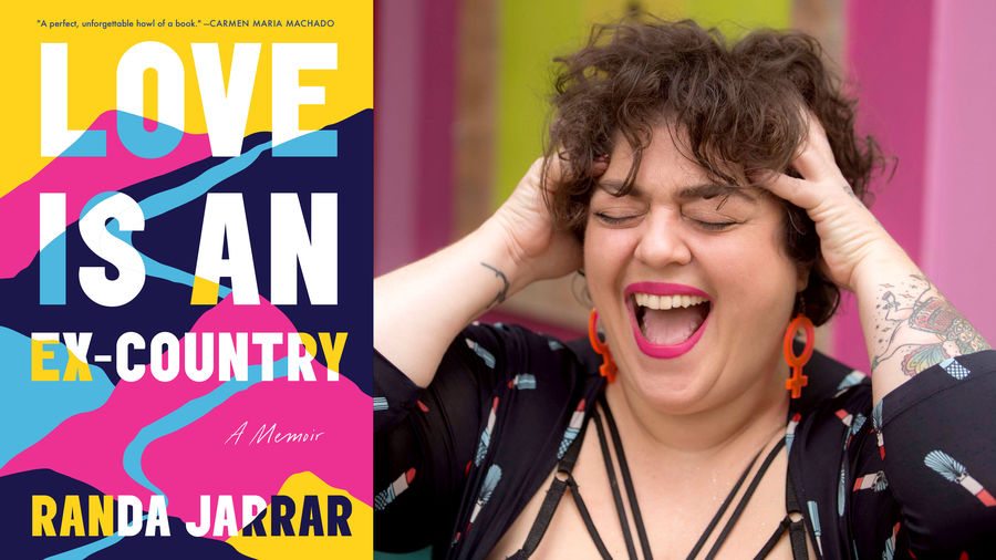 "Cover Photo: The book cover for ""Love Is An Ex-Country,"" which is a road winding through the mountainside; and a photograph of the author, a woman with full brown hair laughing, her tattoos showing underneath a cardigan patterned with tubes of lipstick"