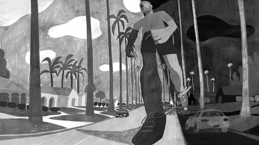 Cover Photo: An illustration of a man going for a jog; one side has a lighter background of LA, where the man appears to have darker skin, and the other side is a darker mirror image, where the man appears to have lighter skin