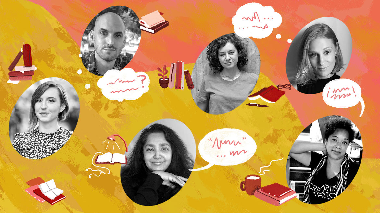 Cover Photo: Portraits of Nina Boutsikaris, Tyrese Coleman, Chaya Bhuvaneswar, Noam Dorr, Jessica Gross, and Sarah Minor With Books and Speech Bubbles