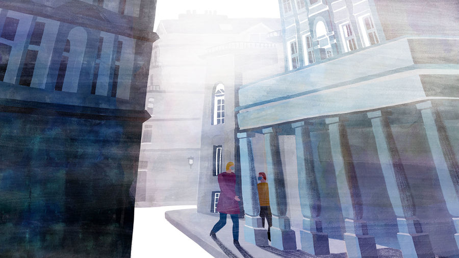 Cover Photo: illustration of a mother and son, both masked, walking through fog around pillars on a city street