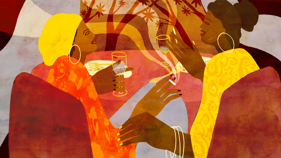 "Cover Photo: two sisters with dark brown hair, brown skin, and large hoop earrings sitting at a dining table, talking and laughing in front of a window with abstract trees in the distance; one is holding a wine glass. painted illustration is in ""spice tones"" of brown, saffron, crimson, and burnt orange"