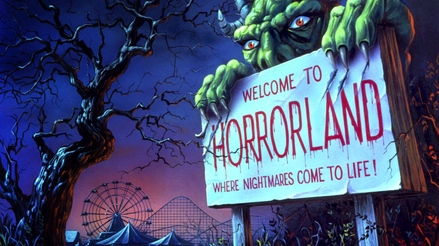 """Cover Photo: An illustration from the Goosebumps book series featuring a sign that says """"WELCOME TO HORRORLAND,"""" held up by a horned monster"""