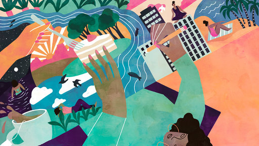 Cover Photo: vivid illustration of author's hands drawing/building a world on a tabletop of interconnected vignettes that show the author meditating, eating, swimming, at the beach, etc., showing the interconnectedness of the author's writing ecosystem
