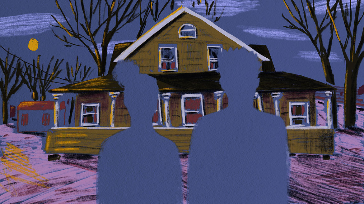 Cover Photo:  The silhouettes of two people approaching a house