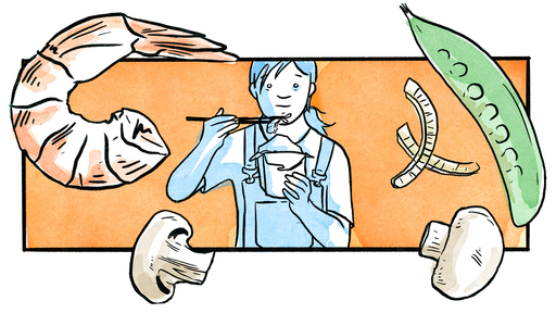Cover Photo: comic illustration of the author, center, wearing overalls and eating chop suey out of a Chinese takeout box, against an orange background, with large inset ingredients (shrimp, snowpea, diced onion, and mushrooms) arranged around them