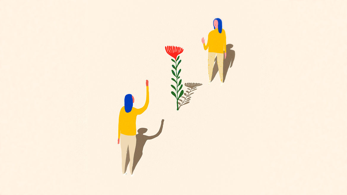 Cover Photo: An illustration of two women waving at each other with a flower growing between them
