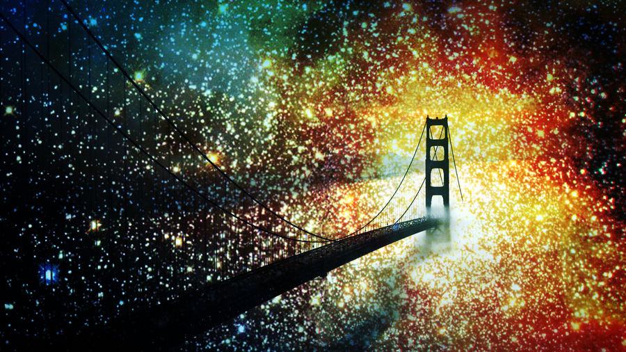 Cover Photo: a bridge stretching through and beyond a bright field of stars