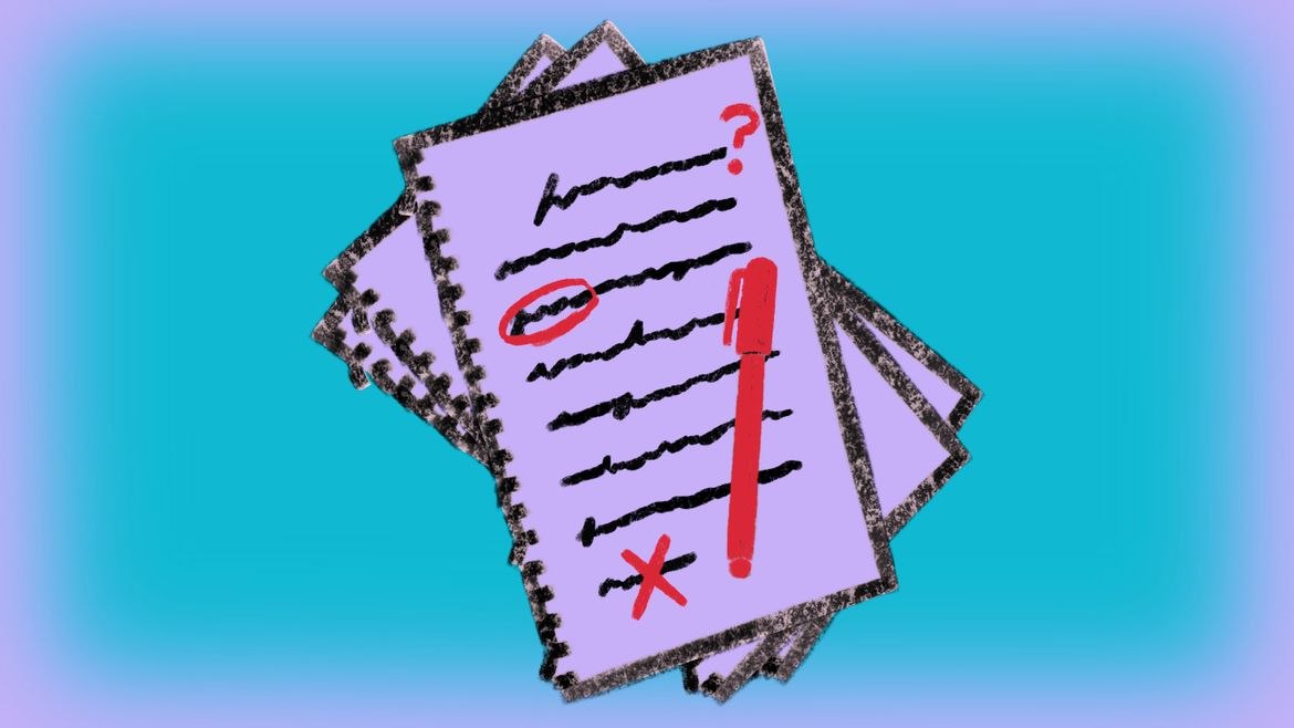 Cover Photo: This image includes a blue background with a drawing of a stack of papers. On the top piece of paper are scribbles that look like writing being edited with a red pen.