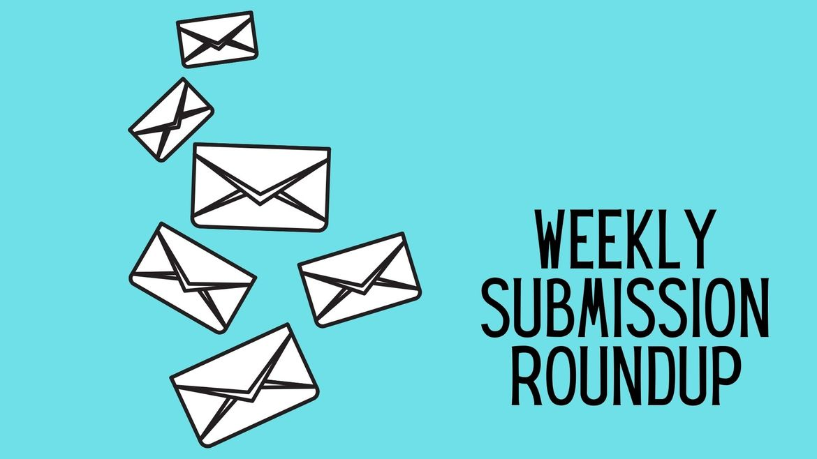"Cover Photo: This graphic has a bright blue background. There are white several white envelopes, smaller at the top and bigger at the bottom, falling from the top right corner. In the bottom left corner are the words ""Weekly Submission Roundup."""