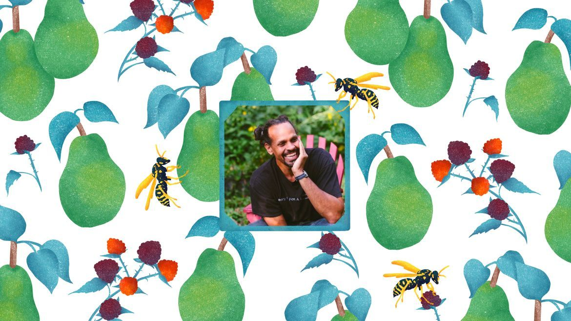 Cover Photo: A pattern of green pear, purple and and orange berries, and yellow jackets surround a center photo of Ross Gay