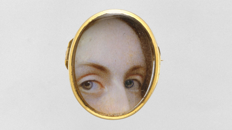 Cover Photo: This painting  show a woman peering through a gold peep hole. We see only her forehead, her eyes, and a small part of her nose.